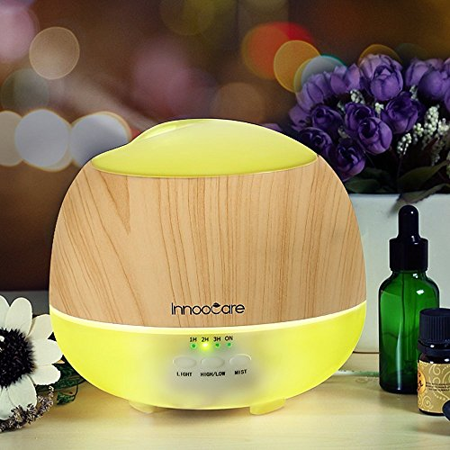 Aroma Diffuser 500ml InnooCare Luftbefeuchter Öl Ultraschall Düfte Humidifier Holzmaserung LED mit 7 Farben für Babies Kinderzimmer Haus, Auto, Wohnzimmer, Schlafzimmer, Büro, Yoga, Spa, Raum usw. Raum Wasser-kühler
