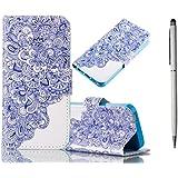 KSHOP Hülle für Samsung Galaxy S6 Schutzhülle Bookstyle PU Lader HandyHülle Tasche Wallet Flip Case Lederhülle Brieftasche mit Standfunktion Card Holder Magnetic schließt Painted Muster- Blau und weiß + Metall Touch-Pen weiß
