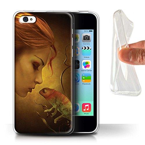 Officiel Elena Dudina Coque / Etui Gel TPU pour Apple iPhone 5C / Pack 5pcs Design / Dragon Reptile Collection Cameleon