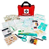 First Aid Kit -309 Pieces- Reflective Bag Design - Including Eyewash, Bandages,Moleskin Pad,CPR Face Mask and Emergency Blanket for Travel, Home, Office, Car, Camping, Workplace (Red)