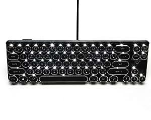 Kitzen Steampunk Retro Typewriter Keyboard Round Key Cap 68 Key Mechanical Keyboards For Mac And Windows Black And Pink , black for games, office Comfortable