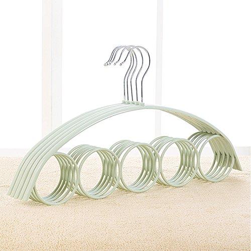 Kleiderbügel, rutschfeste Schal Halter Rack Schal Organizer Aufhänger für Leggings, Schals, und Beziehungen, Kleiderschrank Organizer 5Packungen Free Size grün
