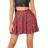 Damen Frauen Rock Mini Skirt A-Linie Karo Fashion Mode Rot Size 3XL