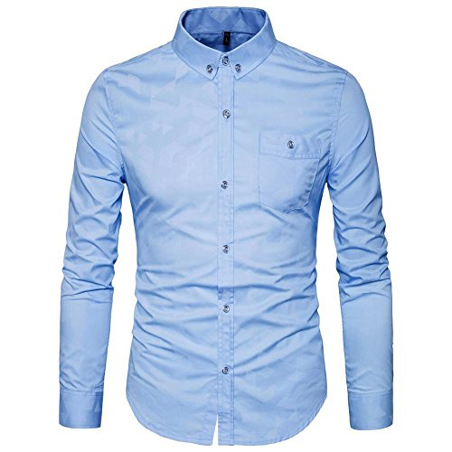 AIYINO Mens 100% Cotton Casual Slim Fit Long Sleeve Button Down Printed Dress Shirts With Pocket In 6 Color