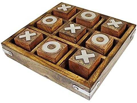 Tic Tac Toe Game Wooden Toy and Game Noughts and Crosses Travel Board Game - 12.7 cm