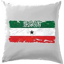 """Somaliland Coussin Drapeau style grunge–41x 41CM (40,6cm)–10couleurs, 100 % coton, blanc, 41 x 41cm (16"""")"""