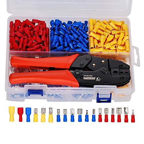 Crimpzange Flachsteckhülsen Set - Sie eine Crimpzange und 900 Stück Isolierte Kabelschuhe für Aderendhülsen