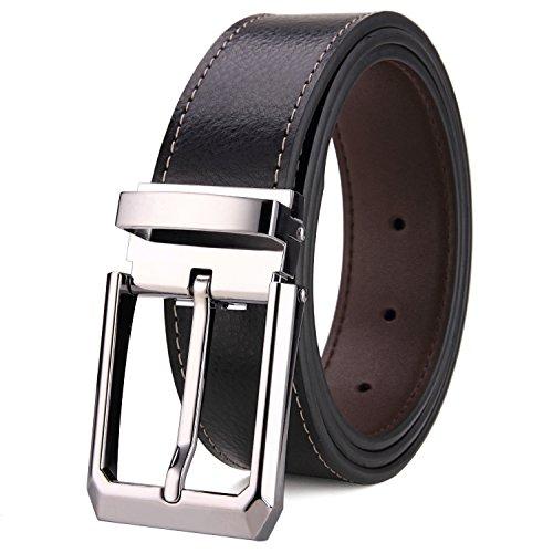 Tonly Monders Herren Gürtel Leder Reversible, Schwarz/Braun, 32mm Breit, 42,43,44,45,Taillenumfang,Schwarz/Braun,52/130 - Reversible Schwarz Leder