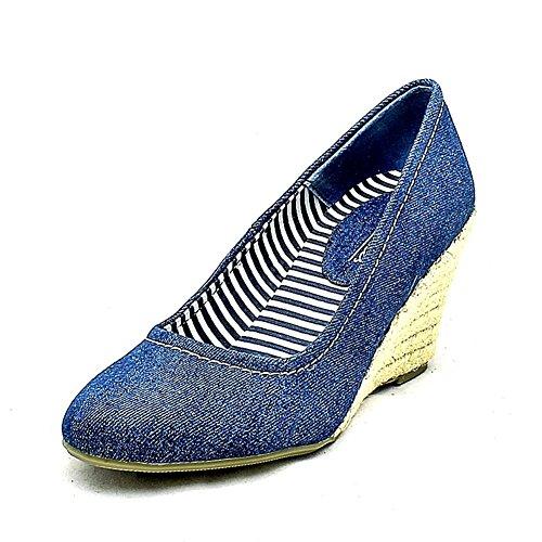 dames toile bout rond chaussures talon compensé blue