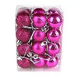 Oshide Weihnachtskugeln set 24 Stück Ø3 cm Christbaumkugeln Weihnachtsdeko aus Kunststoff Pink
