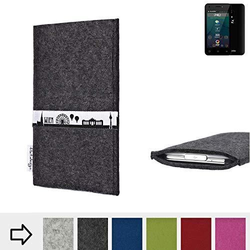 flat.design für Allview P42 Schutztasche Handy Hülle Skyline mit Webband Wien - Maßanfertigung der Schutzhülle Handy Tasche aus 100% Wollfilz (anthrazit) für Allview P42