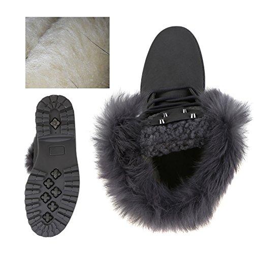 napoli-fashion Gefütterte Damen Schuhe Worker Boots Nieten Stiefeletten Kunstfell Jennika Grau Stone