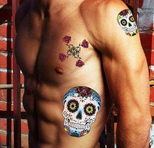 TATTOO ID XXL CALAVERA Têtes de mort mexicaine tatouage ephemere temporaire hypoallergénique Fabriqué en FRANCE 1 planches 22cm x 14,5cm Homme Femme