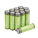 AmazonBasics - Batterie AA ricaricabili, ad alta capacità, 2400 mAh (confezione da 12), pre-caricate