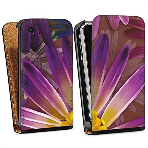 Apple iPhone 4 Housse Étui Silicone Coque Protection Lilas Fleur Fleur Sac Downflip noir