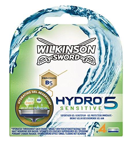 Wilkinson Sword Hydro 5 Sensitive - Cargador de 4 cuchillas de afeitar masculinas de...