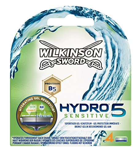 Wilkinson Sword Hydro 5 Sensitive Rasierklingen Klingen, für Herren Rasierer, 4 St