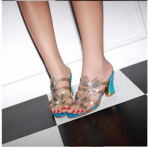 Sommer-Sandalen und Pantoffel und weise Rhinestone hohle groben Bogen mit sexy offenen Sandalen Blue