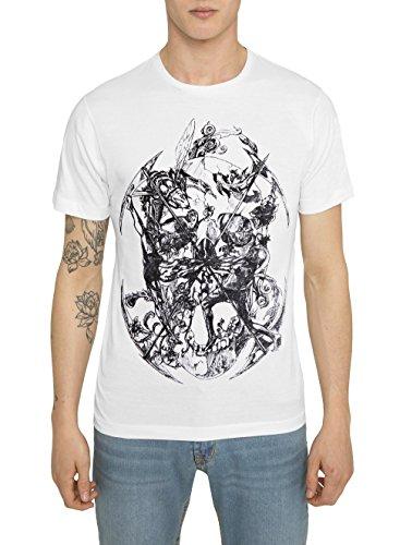 Camisetas Moda para Hombre, T Shirt Designer Fashion Rock, Camiseta de Algodón, Negra, Gris, Blanc con Estampada Tattoo - SURVIVAL - Cuello redondo, Manga corta, Ropa Casual Cool para Hombres S M L