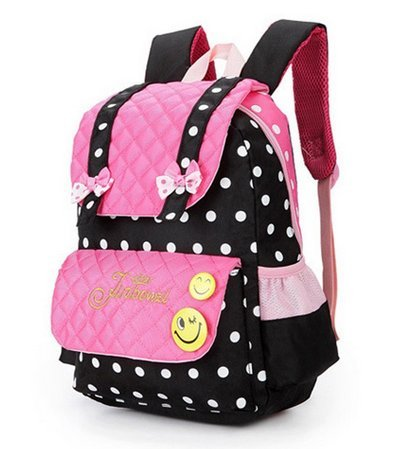 EssVita Kid Child Princess Style School Bags Backpack for Primary Girls Students (Style B Pink+Black)