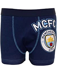 Manchester City FC Official Football Gift 1 Pack Boys Crest Boxer Shorts