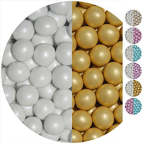 EinsSein 0,7kg Crispy Perline di cioccolato Mix grande bianco-oro perla matrimonio battesimo comunione confettis confettata confetto dragees alla laurea decorazioni bimba bomboniere gusti cuore