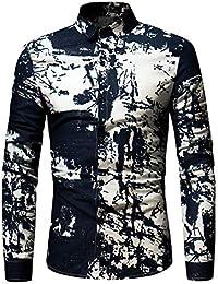 Amlaiworld Bunt Blusen Mode Langarmshirts Gemütlich Baumwolle Pullover  Herren lässig Hemd Büro Freizeit Outdoor 1a50f22f7d