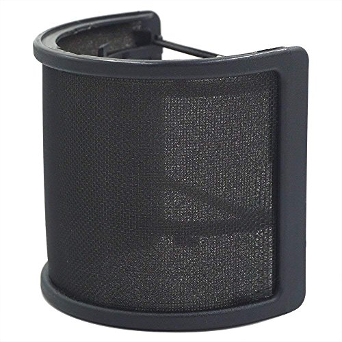 LEAGY Metall Mesh und Schaumstoff-Schicht Mikrofon Cover Handheld Mikrofon Pop Filter Windschutzscheibe Wind Screen Studio Shield Halterung, Schwarz