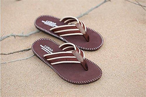 ALUK- Sandales d'été - les pieds des hommes portent la tendance d'usure plage simple chaussures cool ( Couleur : Marron , taille : 41 ) Marron