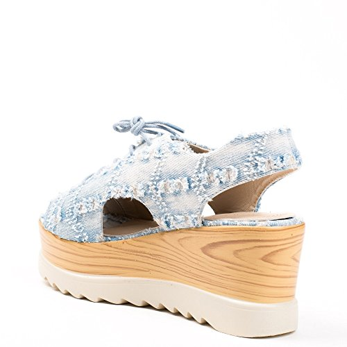 Ideal Shoes Sandales Compensées en Jeans Suzanna Bleu