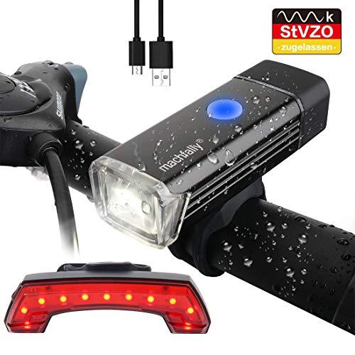 WATERFLY LED Fahrradlicht Set, Fahrradbeleuchtung USB Wiederaufladbare Fahrrad Scheinwerfer mit LED Rücklicht, wasserdichte Multifunktions LED Fahrrad Licht Set für Outdoor Mountain Road Bike (Wiederaufladbare Led-fahrrad-licht)