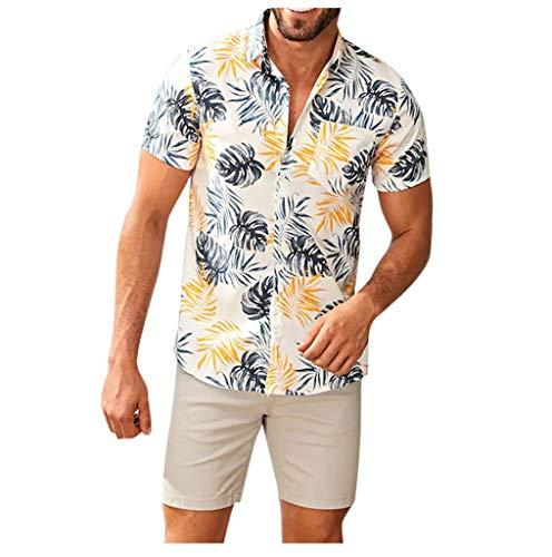 Baiomawzh Freizeithemd Hawaiihemd Herren Sommer Kurzarm Gedruckt Button Down Regular Fit Henley Shirt Sommerhemd Mode Trend Männer Casual Lose Große Größe Strandurlaub Hemden Bluse -