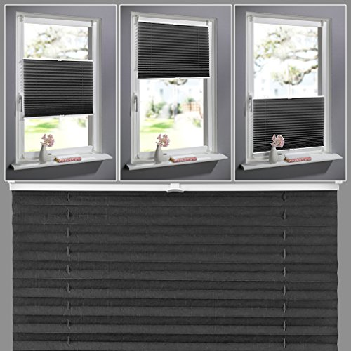 Estor plegable de Kinlo plegable, fijación sin agujeros, para ventanas, 60x 130cm, enrollable, cortina de oscurecimiento, tela, gris oscuro, 60 x 130 cm