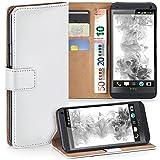 moex HTC One M7 | Hülle Weiß mit Karten-Fach 360° Book Klapp-Hülle Handytasche Kunst-Leder Handyhülle für HTC One M7 Case Flip Cover Schutzhülle Tasche