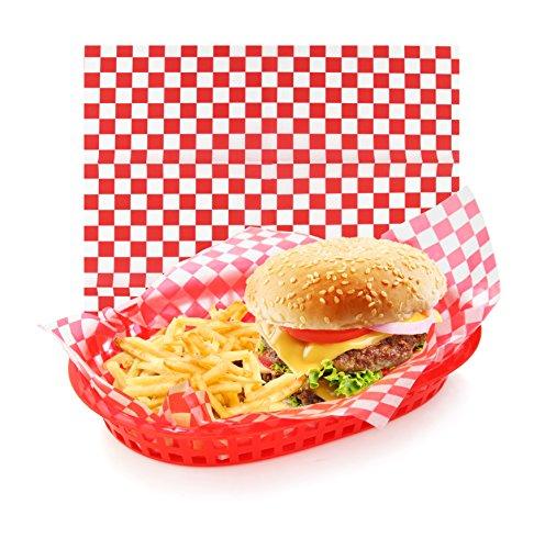 Neue Star Foodservice 44263rot Check Lebensmittel Korb, 12von 12Zoll, Set 36 -
