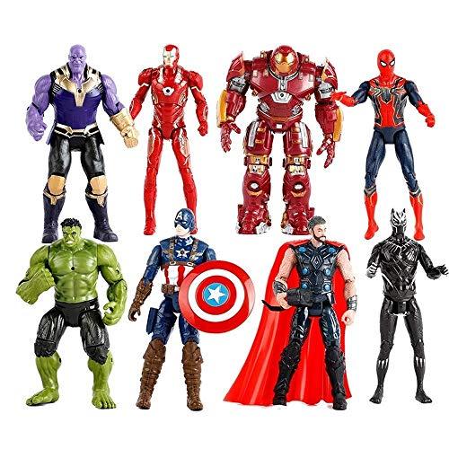 on Figure 8er-Set: Spiderman, Hulk, Anti-Hulk, Thanos, Captain America, Iron Man, Black Panther, Thor Actionfiguren, Boy Toy Set ()