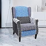Sessel mit Design-Patchwork Stoff und Blau und Weiß