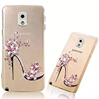 Note 3 Case [Hard PC],Note 3 Cover,Vandot Anti-Fingerprint SMatte Transparent Luxury Bling 3D Diamond Pattern Slim Fit cratch-Resistant Pratical Protective Cover Case for Samsung Galaxy Note 3 N9000 N9005-High Heel Flower Pink