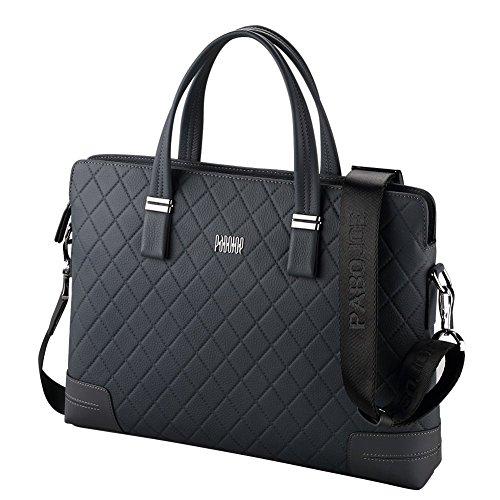 Oneworld Herren Rindleder Messenger Bag Aktentasche Schultertasche Notebooktasche Handtasche Umhängetasche Schultasche Tote Bag 38x29.2x6cm(BxHxT) Grau Dunkel Blau