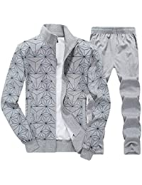 WanYangg Chándal Hombre Imprimir Manga Larga Cremallera Sudadera Chaqueta  Jogging Elástico Pantalones Dos Piezas Chandal Tallas c1dd92552e0