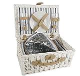 Stabiler Picknickkorb für 2 Personen - weiß - Weide Picknickkoffer inklusive Zubehör - Picknick Korb Koffer Set