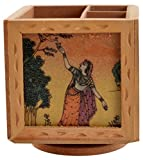 #6: SAARTHI Rajasthani Handpainted Wooden Multicolour Revolving Gemstone Painted Pine Wood Handcraft Wooden Pen– Pencil stand/ Card Holder Stand Cutlery Holder Table Desk Organizer Set with Rajasthani Ethnic Wooden Hand Crafted Key Holder Wall Hanging Key Stand cum Showpiece for Wall Decor, Home Decor, Room Decor Ragini Key Hanger