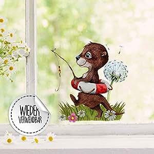 Fensterbild Eichhörnchen Deko Fensterdeko Klebefolie wiederverwendbar Spiegel
