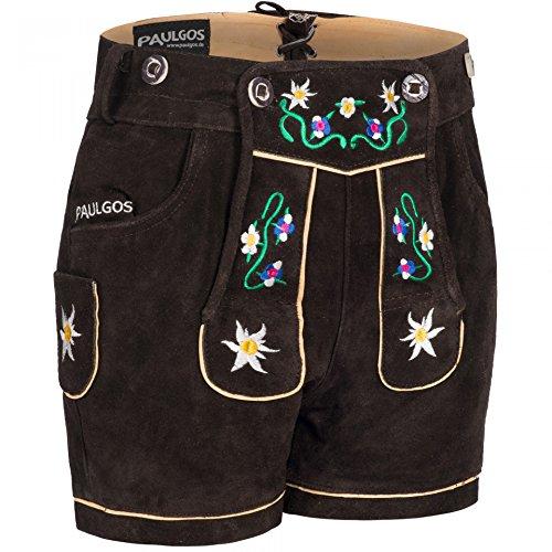 PAULGOS Damen Trachten Lederhose + Träger, Echtes Leder, Kurz in 8 Farben Gr. 34-50 M1, Farbe:Dunkelbraun, Damen Größe:40