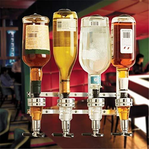Yosoo 4Flasche Wand montiert-Likör Spender Ständer Wandhalterung Drink Wine Spender Solo Optic Spirit Drinkware Set