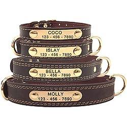 SLZZ Collier de Chien en Cuir personnalisé de Haute qualité personnalisé avec étiquettes d'identification gravées sur la Plaque signalétique/Cuir véritable résistant au Toucher Doux/Adjustable