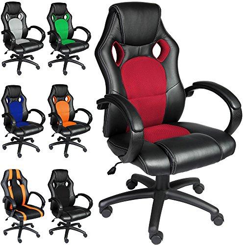 Bürostuhl Rot Komfort-Stoffbezug Chefsessel Schreibtischstuhl Drehstuhl Gamingstuhl Bürodrehstuhl Race Design PU ✔Farbauswahl