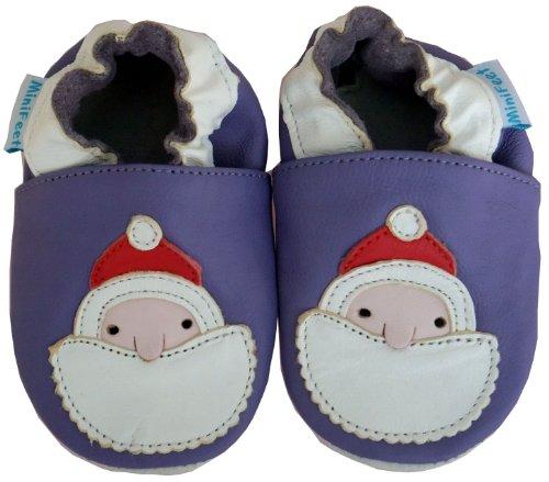 MiniFeet Weiche Leder Babyschuhe, Weihnachtsmann Lila / Weichen Wildleder Sohle