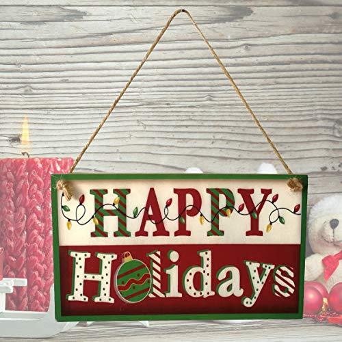 Amosfun Frohe Feiertage Weihnachten Holz Banner dekorative Türen und Fenster hängende Platte Weihnachtsschmuck hängen Board (Dekorativen Weihnachtsschmuck)
