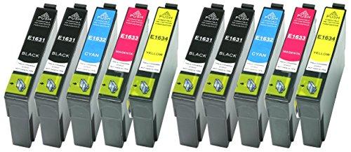 10 XL Druckerpatronen Schwarz, Cyan, Magenta, Yellow ersetzen Epson T1631 T1632 T1633 T1634 Nr.16...